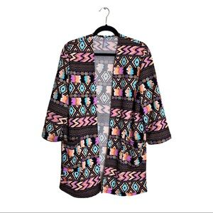 AZTEC COLORFUL PRINTED BOHO OPEN DUSTER CARDIGAN